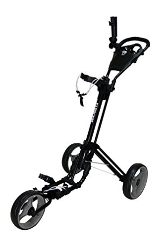Qwik-Fold 3 Wheel Push Pull Golf Cart, Patented Bullet System and Foot Brake, ONE Second to Open and Close! (Black/Charcoal)