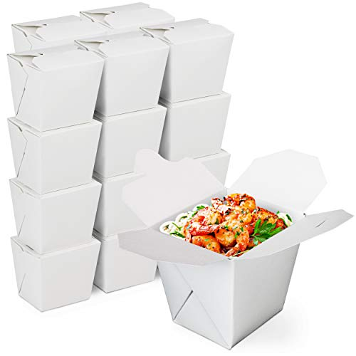 """[50 Pack] 8 oz Chinese Take Out Boxes - 2.75x2.5"""" Plain White Paperboard Food Containers, Leak and Grease Resistant Pint Size Asian Rectangle to Go Boxes, Candy Buffet Box and Party Favors"""