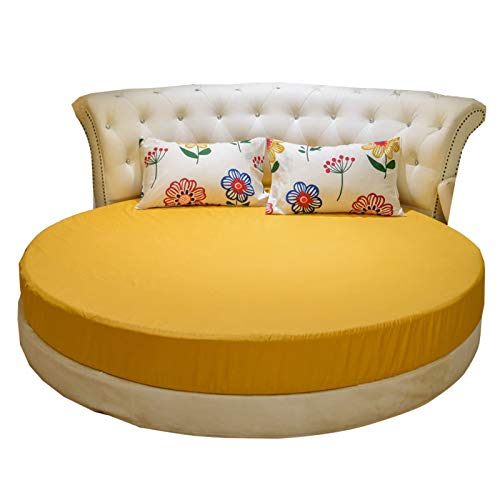 RIYIFER Round Mattress Protector, Breathable And Noiseless Stretch Mattress Skirt Cotton Material Mattress Cover for Families, Hotels, Student Dormitories,Yellow,Dia: 2.2m