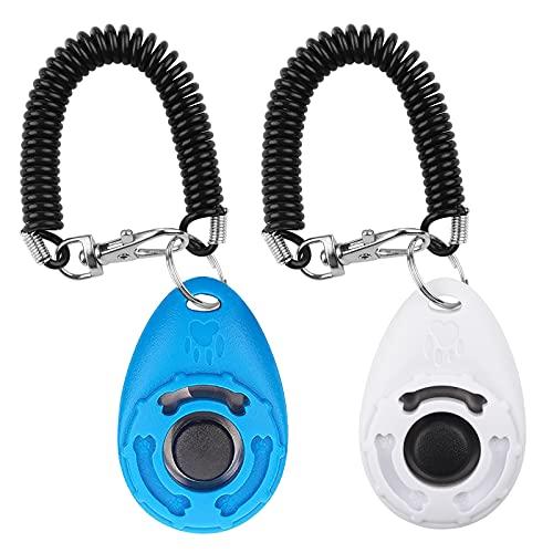 Diyife Hunde Clicker, Trainings-Clicker mit Handschlaufe, Klicker mit Großem Knopf, Hundeerziehung und Hundetraining, für Hund, Katze, Pferd (2 Stück,Blau + Weiß)