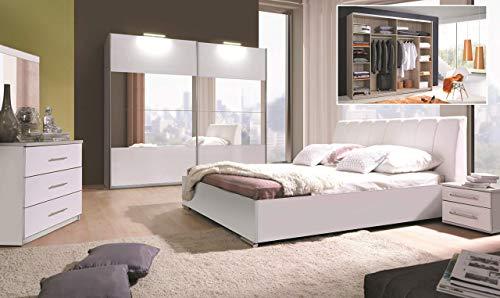 Amazon Marke -Movian Lahn Großes Doppelbett aufklappbar mit Stauraum, 194 x 94 x 221cm, Alpinweiß