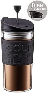 ボダムトラベルプレスセット - 余分な蓋0.35Lとコーヒーメーカー( 12オンス)黒 Bodum Travel Press Set - Coffee Maker With Extra Lid 0.35L (12oz) Black