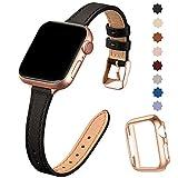 SUNFWR Compatible avec Le Bracelet Apple Watch 40mm 38mm 44mm 42mm,Fin Cuir Véritable Femme...