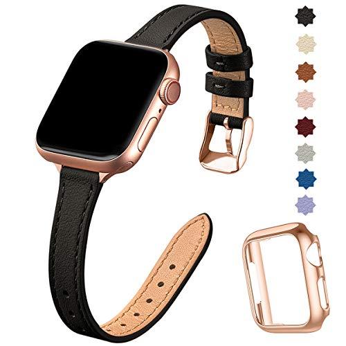 SUNFWR Compatible avec Le Bracelet Apple Watch 40mm 38mm 44mm 42mm,Fin Cuir Véritable Femme Bracelet Remplacement,pour iwatch Series 6/5/4/3/2/1,Se(38mm 40mm,Noir&Or Rose)