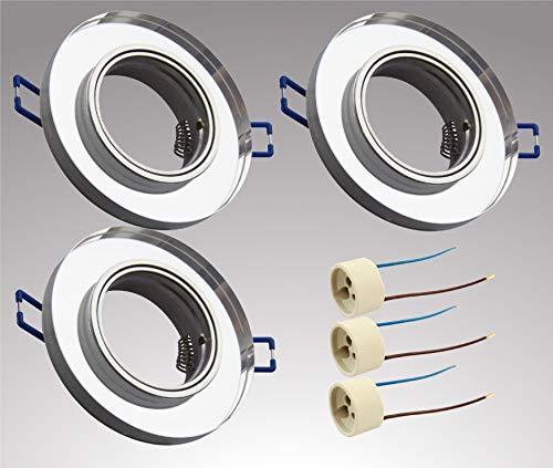 Trango 3er Set Modern Design Einbaustrahler schwenkbar in Rund TG6729R-03, Einbauleuchten, Deckenstrahler, Strahler, Badleuchte aus Spiegelglas & Alu inkl. GU10 Fassung direkt 230 Volt