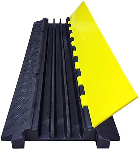 Electriduct Low Profile 3 Channel Cable Protector Rubber Ramp Black Base//Yellow Lid