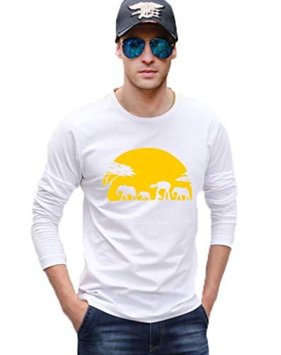 Cool Men t Shirt Elephants and Imperial Walk Across African Safari Men's Long Sleeve T-Shirt Hip Hop Top Tees,white3,XL