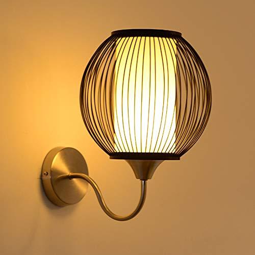 MJZHJD Cabecera del Arte de la lámpara Redonda de bambú Accesorios de iluminación 10-15 Metros Cuadrados Comedor Dormitorio de la Sala Luz de Pared
