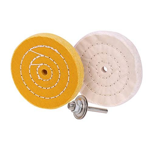 4 inch Buffing Polishing Wheel for Mini Bench Grinder or Drill with Useful Adapter White(50 Ply) Yellow(42 Ply)2/5' Arbor Hole