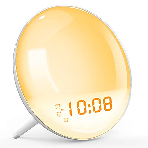 TITIROBA Lichtwecker mit Radio Dimmbar Nachtlicht Led Nachttischlampe Wecker mit Sonnenaufgang/Untergang-Simulation/Snooze Funktion & 7 Natürliche Klänge & 20 Helligkeitsstufe Regelbar & Zwei Alarme