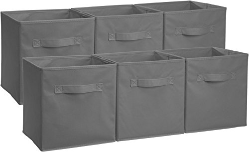 Amazon Basics Collapsible Fabric Storage Cubes Organizer with Handles, Gray - Pack of 6