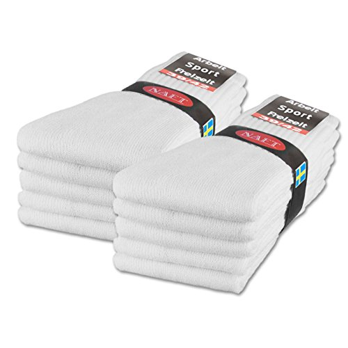 sockenkauf24 10 | 20 | 30 Paar Sportsocken Tennissocken Arbeitssocken Herren und Damen Socken Baumwolle (43-46, 10 Paar | Weiß)