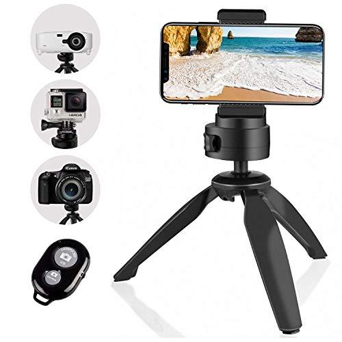 Heavy Duty Tripod, UBeesize Phone Camera Tabletop Mini Tripod Cell Phone Clip Holder, Compatible with iPhone, Smartphones, Gopro, Webcams, Compact Cameras DSLRs