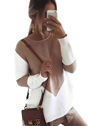 shermie Women Long Sleeve Crew Neck Pullovers Stitching Color Loose Knitted Sweaters Camel S