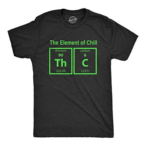 Mens The Element of Chill Tshirt Funny Science THC Marijuana Tee (Heather Black) - XL