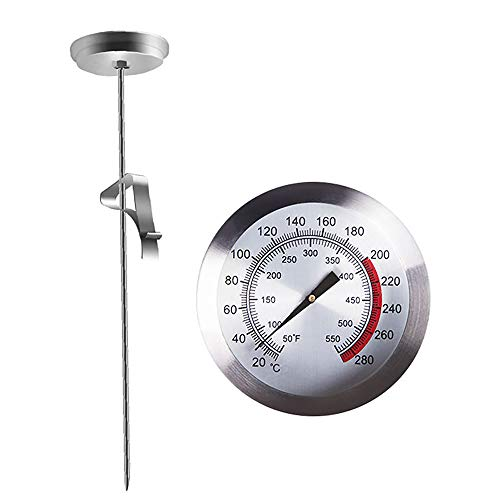 "YWT Deep Fry Thermometer with Instant Read, Dial Thermometer, 9"" Stainless Steel Stem Meat Cooking Thermometer, Best for Turkey, BBQ, Grill"