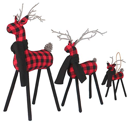 WizPower Christmas Reindeer Family 3 Pieces Set, 3D Christmas Deer Figurines with Twine Antlers, Black Red Plaid Elk Deer Christmas Decoration New Year Gift