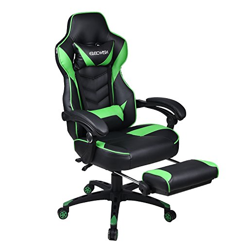 Video Gaming Chair Racing Office - Reclining PU Leather High Back Ergonomic Adjustable Swivel Executive Computer Desk Large Size Footrest Headrest Lumbar Support Adjustable arms Cushion chair gaming green