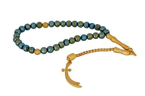 Remi Bijou Gebetskette - Tesbih 33 Perlen mit Zülfikar Anhänger 'Ay Ali' Schwert von Ali, Dhū l-faqār, Zulfiqar, Zulfikar- Grün Gold