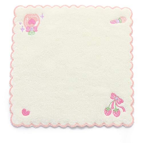 マザーガーデン Mother garden ふわふわ刺繍 ミニタオル 刺繍タオル 20×20cm (野いちご 白色)