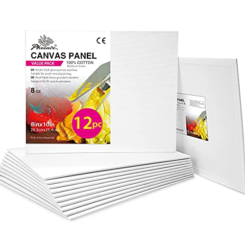 PHOENIX Painting Canvas Panels 8x10 Inch, 12 Pack - Blank White Canvas Boards -...