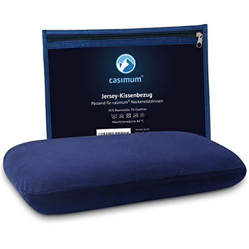 casimum® Blauer Jersey Kissenbezug aus Baumwolle - Hochwertig & passgenau. Abnehmbarer Schonbezug mit Reißverschluss für Nackenstützkissen 70x40 cm