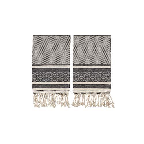 Bloomingville Black and Cream Woven Cotton Tea Towels with Tassels (Set of 2) Handtücher, Baumwolle, schwarz