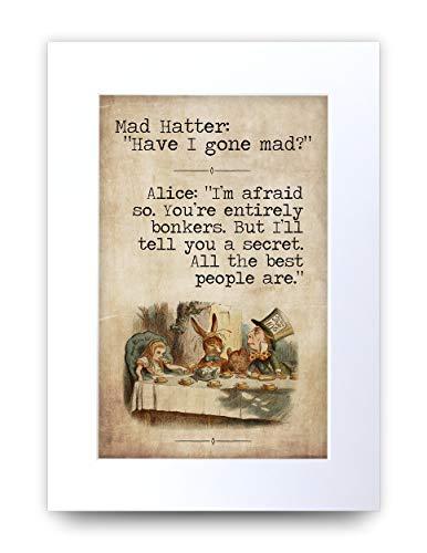 HWC Trading A4 Alice im Wunderland You're Entiely Bonkers Geschenke zur Dekoration Ihres Neugeborenen Babyzimmers – A4
