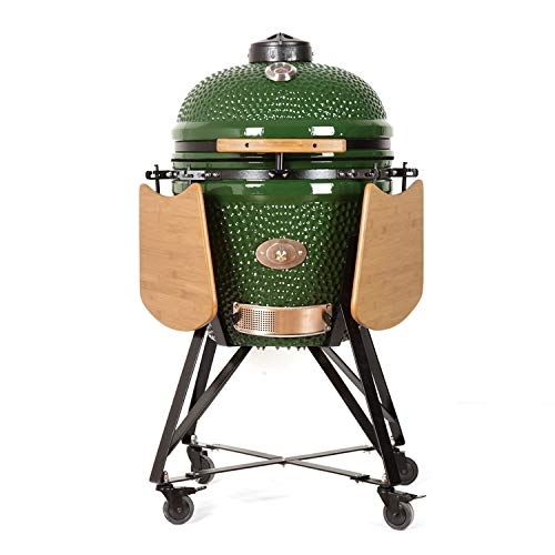 "YNNI KAMADO TQ0C23GR XL 23"" Grill, Green with Chipfeeder, BBQ, Ceramic, Egg, Smoker, TQ0C23GR"