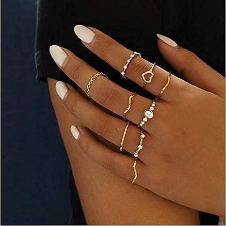 Cathercing Juego de 9 anillos para mujer, anillos bohemios de oro, para niñas, anillos de cristal vintage, anillos de nudo articulados, para fiestas de adolescentes, regalo diario