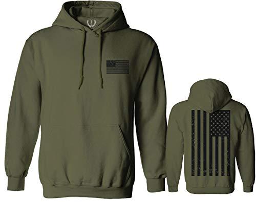 Vintage American Flag United States of America Military Army Marine us Navy USA Hoodie (Olive, Large)