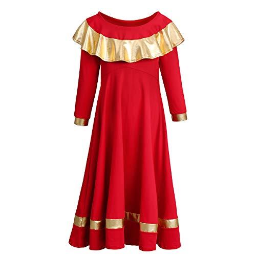 OBEEII Niñas Vestidos Adoración Danza Alabanza Litúrgico Iglesia Manga Larga Elegantes Ropa de Baile Actuación Fiesta Gimnasia Combinación para Chicas Rojo 5-6 Años