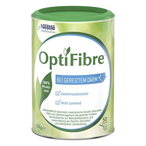 OptiFibre Pulver zum Diätmanagement bei gestörter Funktion des Dickdarms zur Nährstoffresorption und -ausscheidung bei Durchfall und Verstopfung | bei gereiztem Darm | 100% pflanzlich | 1 x 250g Dose