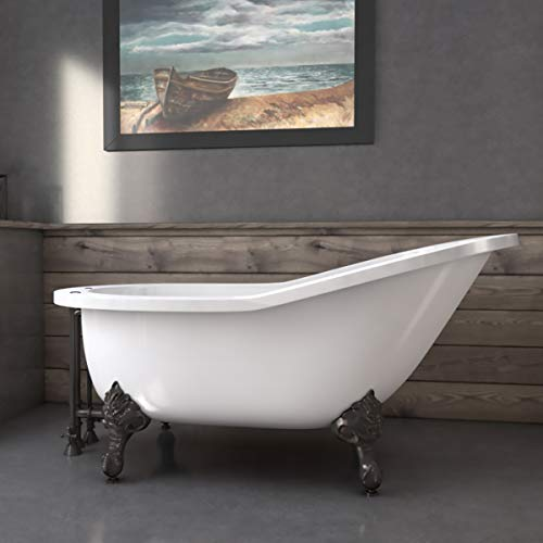Cambridge Plumbing 61-inch Extra Wide Acrylic Slipper tub with 7-inch Deck Mount Faucet Holes and Oil Rubbed Bronze Claw feet