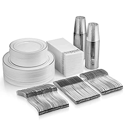 350 Piece Silver Dinnerware Set - 50 Dinner Plates - 50 Salad Plates - 50 Tumblers - 50 Forks - 50 Spoons - 50 Knives - 50 Napkins