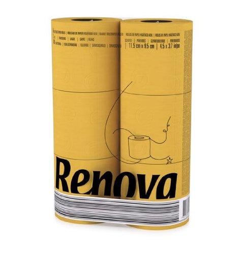 Renova 3 Ply Soft Colour Toilet Loo Bathroom Tissue Paper Rolls 6 Pack (YELLOW)