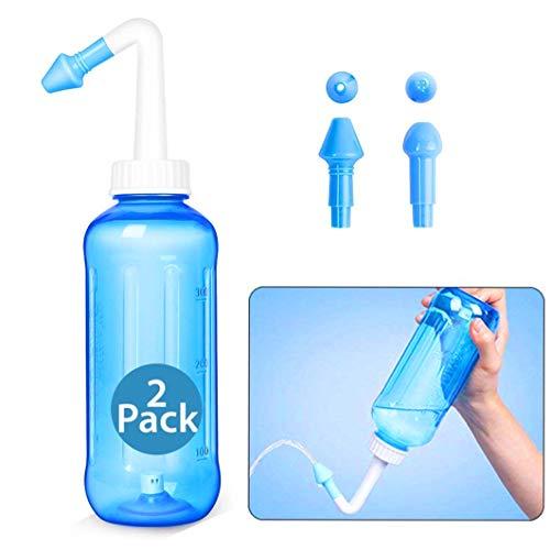 SiaMed Neusdouche met 2 opzetstukken, 300 ml, neusdouche, neusspoeling, neusreiniging, neusspoeling, voor kinderen, baby, volwassenen, voor snuiven, allergie, droge neus (dubbele verpakking)