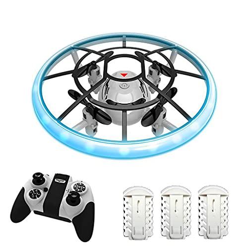 XIAOKEKE Mini Drone per Bambini, Elicottero Telecomandato con Luci E 3 Droni Batterie, RC Droni con Rotazione A 360° E modalità Senza Testa, Regalo per Ragazzi Ragazze Bambini Principianti