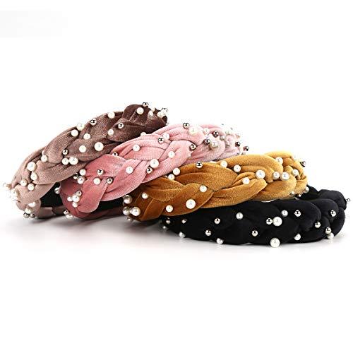 Perle Stirnbänder-4PCS Makone Velvet Stirnband mit Perle elastische Haarbänder Mode Haarschmuck für Hochzeitsfeier