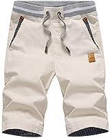NAVEKULL Men's Casual Shorts Stretch Slim Fit Drawstring Summer Outdoor Beach Shorts with Elastic Knitted Waist Khaki