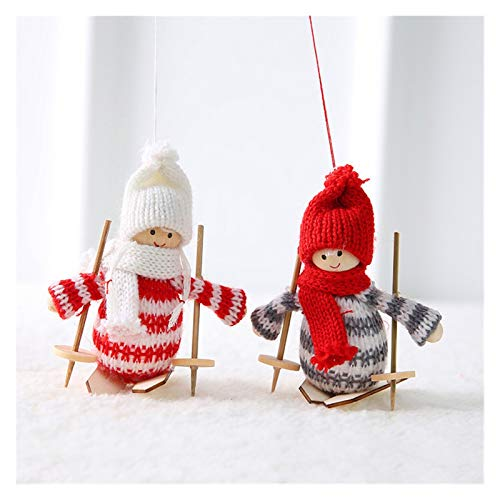 ZHAO New Year Angel Santa Claus Hanging Dolls Christmas Decorations for Home Decor Christmas Tree Ornaments Natal Home Decor (Color : 2 pcs ski short)