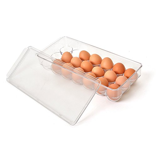 Totally Kitchen Plastic Egg Holder | BPA Free Fridge Egg Carton Organizer with Lid & Handles | Refrigerator Storage Container | 21 Egg Tray, Clear