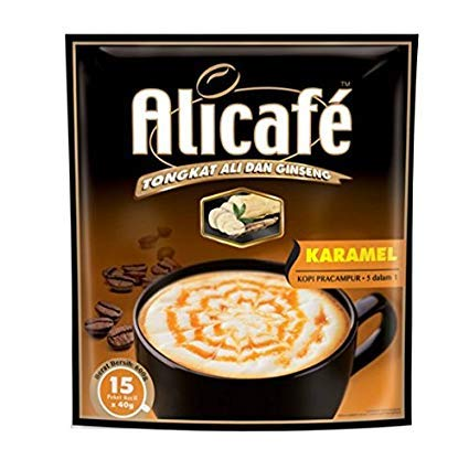 10 Pack Alicafe Tongkat Ali and Ginseng Caramel 5 in 1 Premix Coffee Imported from Malaysia (10 x 15 Sachets) Free Express Delivery
