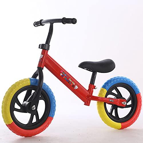 XJMPYGR 12'Niños sin Pedal, Bicicleta de Bicicleta de Bicicleta de Bicicleta de Bastidor de Acero al Carbono, para Jinetes Principiantes y niños pequeños de 1 a 7 años (Llantas de Colores),Rojo