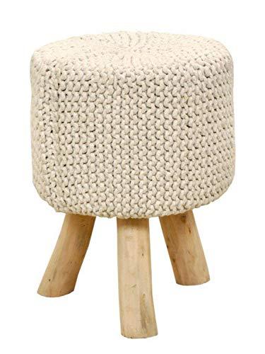 casamia Sitzhocker Strick-Hocker Pouf Schemel Ø 35 cm Höhe 45 cm mit Holzfüßen viele Farben Farbe leinenweiß