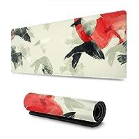 マウスパッド 大型 ゲーミングマウスパッド 水墨画 古典 鳥 太陽 赤かわいい 防水性 耐久性 滑り止め 低反発キーボードパッド 多機能 超大判 30×80cm おしゃれ