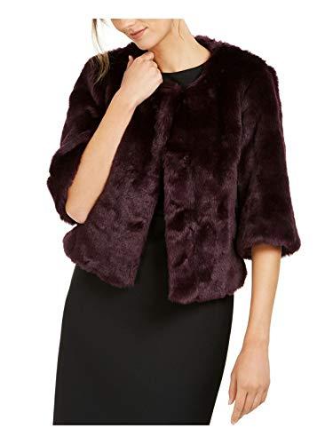 Calvin Klein Women's Solid Faux Fur Shrug, aubergine, Medium