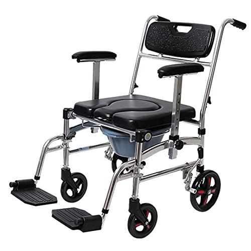 EIU 4 in 1 Duschstuhl, mobiler Stuhl, Toilettenstuhl, Toilettenstuhl, Toilettensitz, Dusche, Bremsen, abnehmbares Pedal, verstellbare Armlehne, PU-Sitz, Toilettensitz und Eimer 150 kg