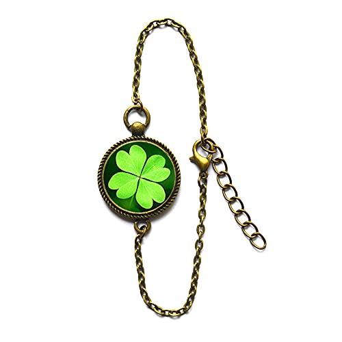 Pulsera de trébol, trébol de la suerte, joyería de buena suerte, trébol de cuatro hojas, amuleto de la suerte, joyería de buena suerte, PU154