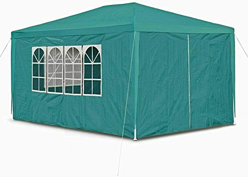 Lucn 3M X 4M Garden Heavy Duty Waterproof Gazebo Marquee Party Tent W/4 Side Walls, Outdoor Car Canopy Portable Cover Gazebo Garage Shelter Carport Tent - Green